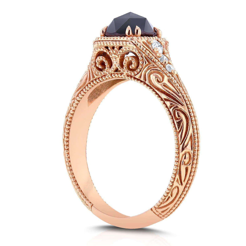 Kobelli Antique Round Rose-Cut Black and White Diamond Art Nouveau Engagement Ring 1 CTW in 14k Rose Gold