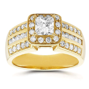 Three-Row Princess Diamond Halo Engagement Ring 1 CTW in 14k Yellow Gold