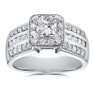 Three-Row Princess Diamond Halo Engagement Ring 1 CTW in 14k White Gold