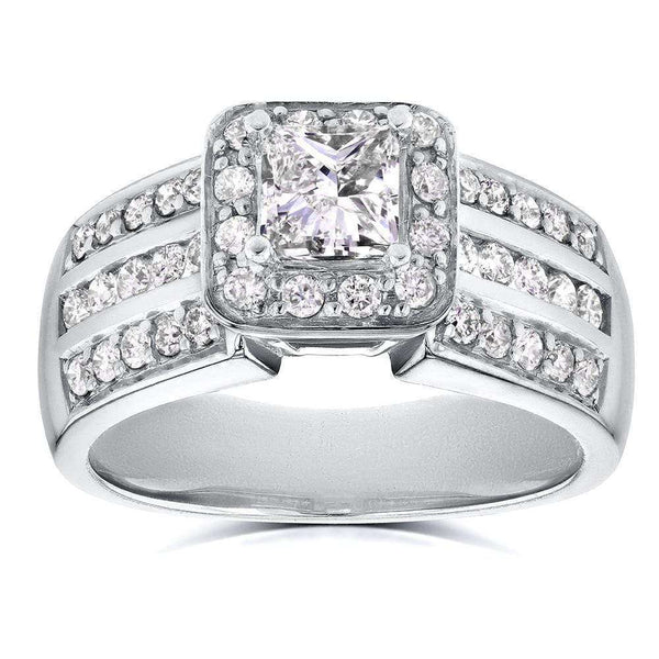 Kobelli Three-Row Princess Diamond Halo Engagement Ring 1 CTW in 14k White Gold