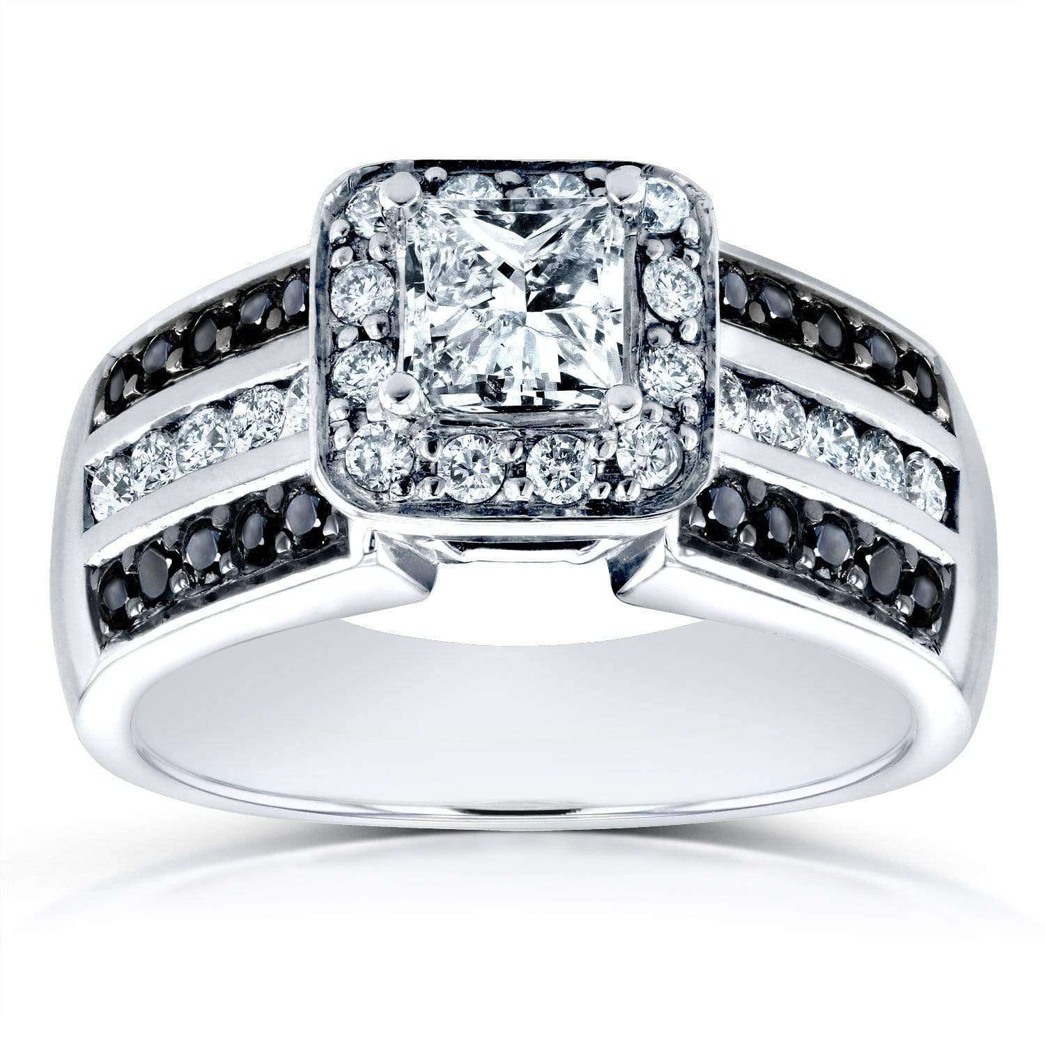 Best Three-Row Princess White and Black Diamond Halo Engagement Ring 1 CTW in 14k White Gold - 5