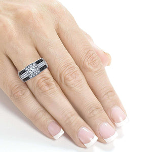 Kobelli Three-Row Princess White and Black Diamond Halo Engagement Ring 1 CTW in 14k White Gold