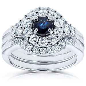 Sapphire and Halo Diamond Bridal Set 1/4 CTW in 14k White Gold (3 Piece Set)