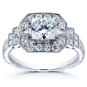 Kobelli Antique Diamond Fashion Engagement Ring 4/5 CTW in 14k White Gold