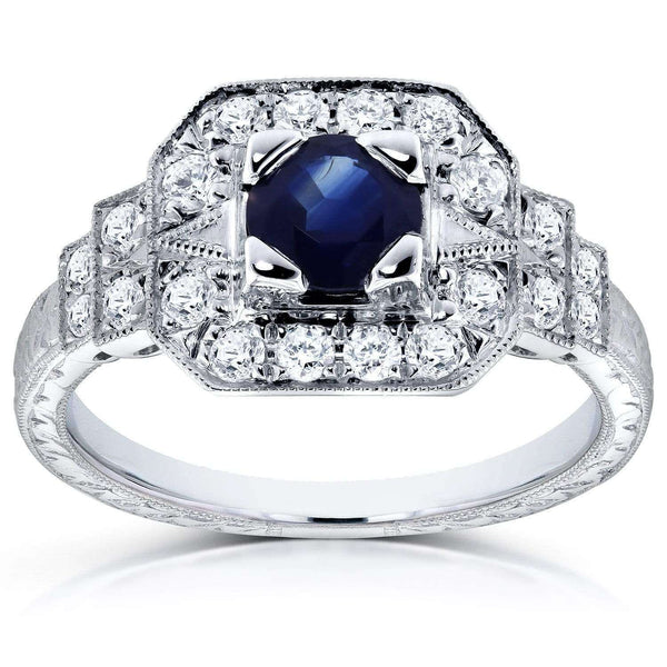 Kobelli Antique Blue Sapphire and Diamond Fashion Engagement Ring 4/5 CTW in 14k White Gold