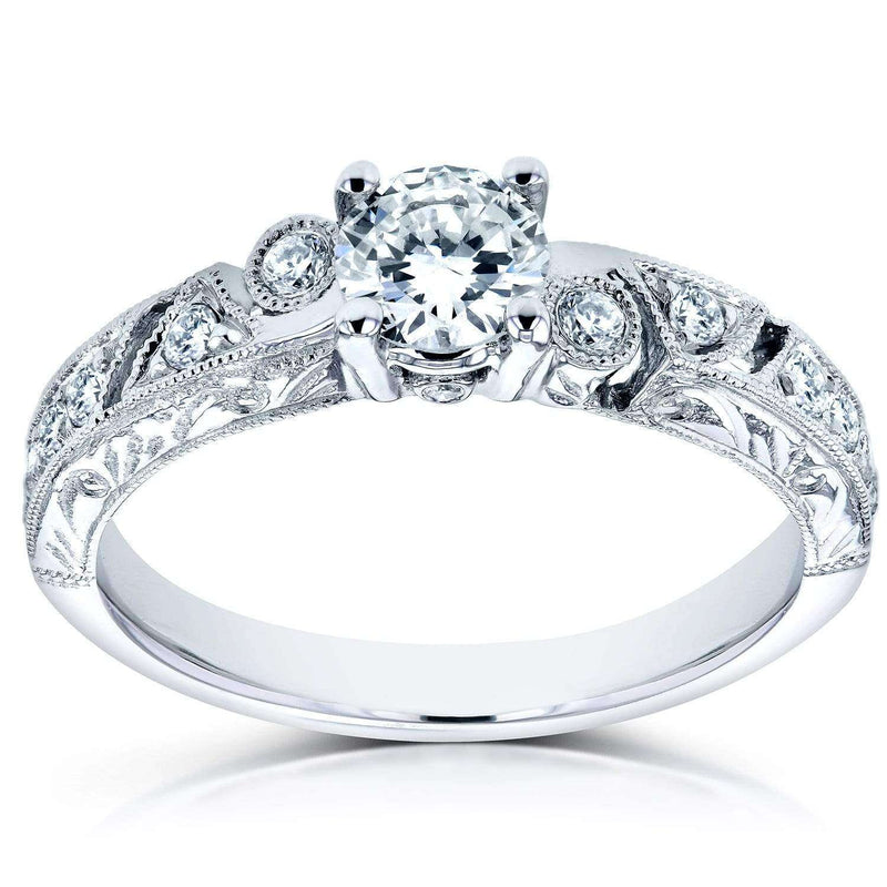 Kobelli Filigree Milgrain Diamond Engagement Ring 3/5 CTW in 14k White Gold