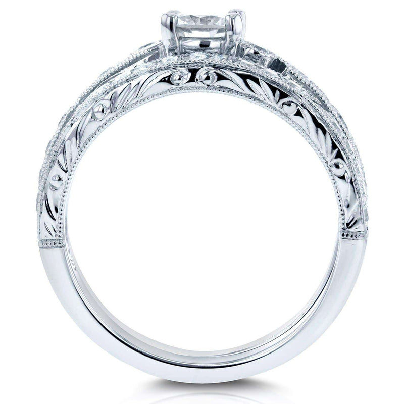 Kobelli Filigree Milgrain Bridal Rings Set 3/4 Carat (ctw) in 14k White Gold