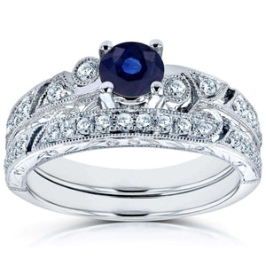 Kobelli Sapphire Filigree Milgrain Bridal Set 4/5 CTW in 14k White Gold