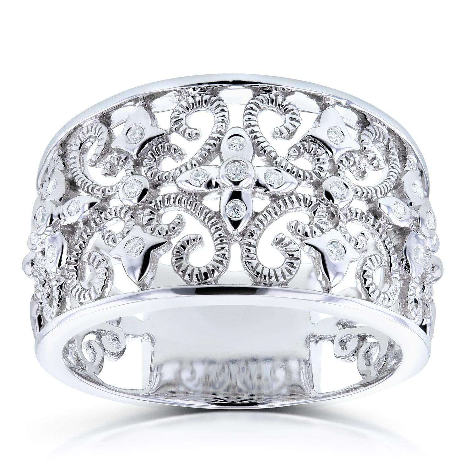 Best Diamond Fashion Floral Band in 14K White Gold - 4