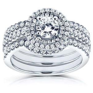 Round Diamond Bridal Set 1 1/8 Carat (ctw) in 14k White Gold (3 Piece Set)