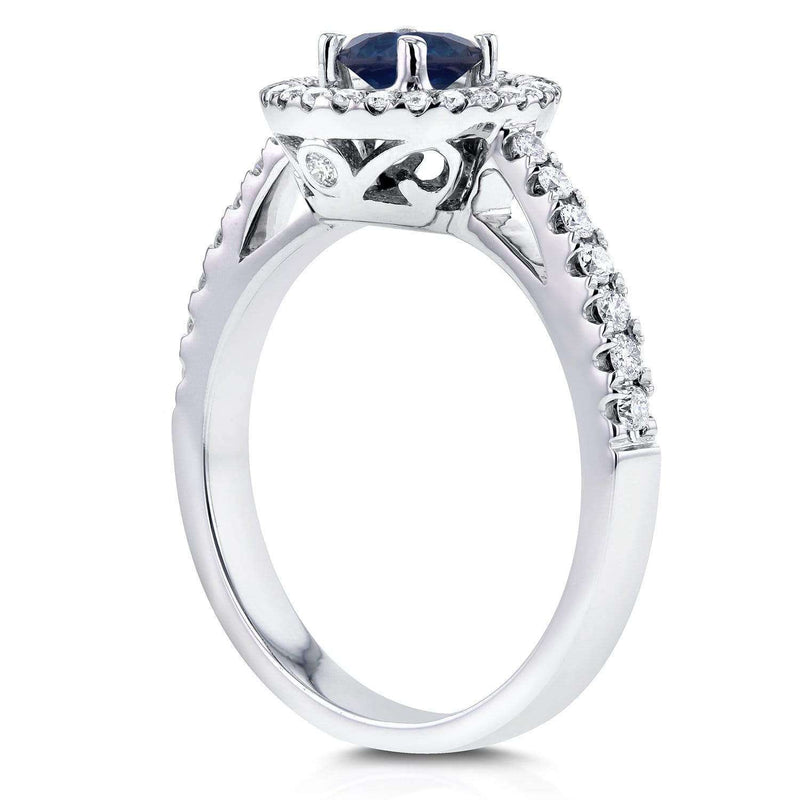 Kobelli Double Halo Sapphire Engagement Ring 3/4 CTW in 14k White Gold