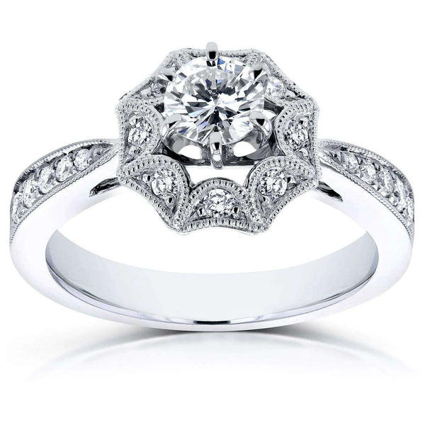 Kobelli Diamond Starry Milgrain Engagement Ring 3/5 CTW in 14k White Gold