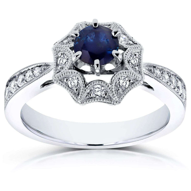 Kobelli Blue Sapphire Starry Milgrain Engagement Ring 3/4 CTW in 14k White Gold