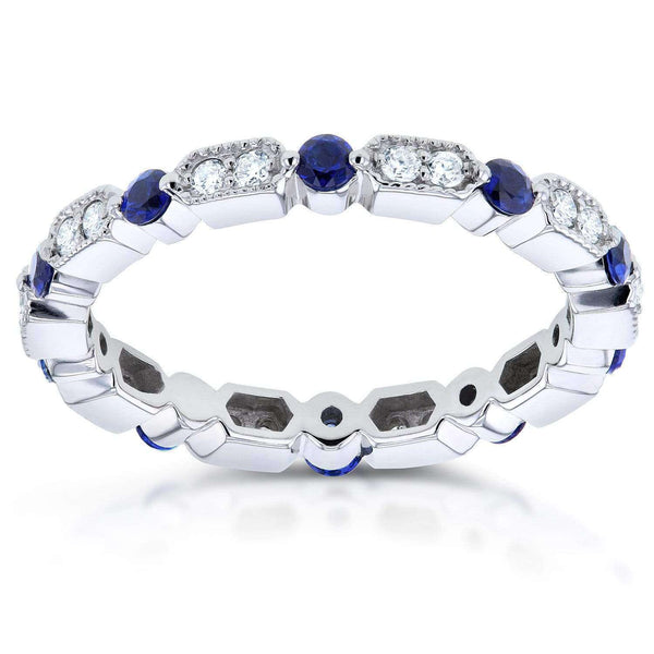 Kobelli Diamond and Blue Sapphire Eternity Band 3/5 CTW in 14k White Gold