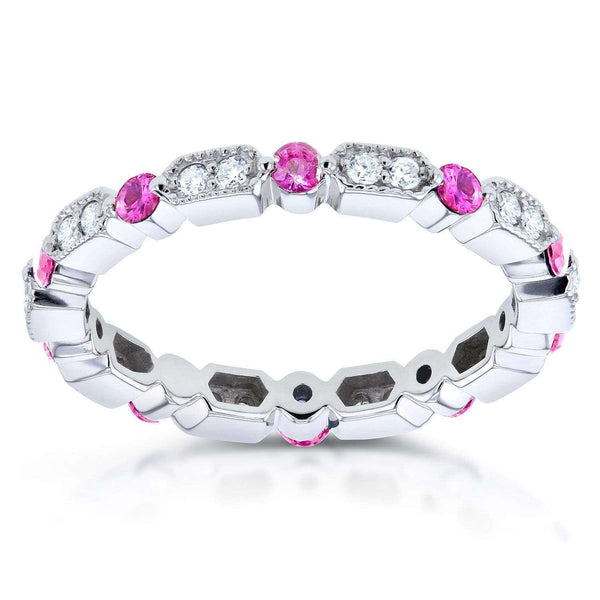 Kobelli Diamond and Pink Sapphire Eternity Band 3/5 CTW in 14k White Gold