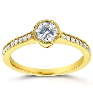 Art Deco Diamond Bezel Engagement Ring 3/4 CTW in 14k Yellow Gold