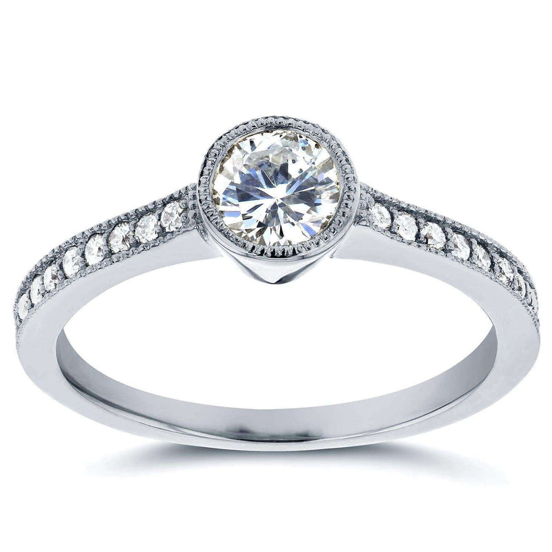Kobelli Art Deco Diamond Bezel Engagement Ring 3/4 CTW in 14k White Gold