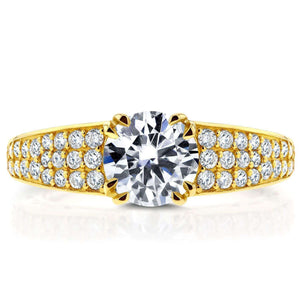Round Diamond Engagement Ring 1 2/5 Carat (ctw) in 14K Yellow Gold