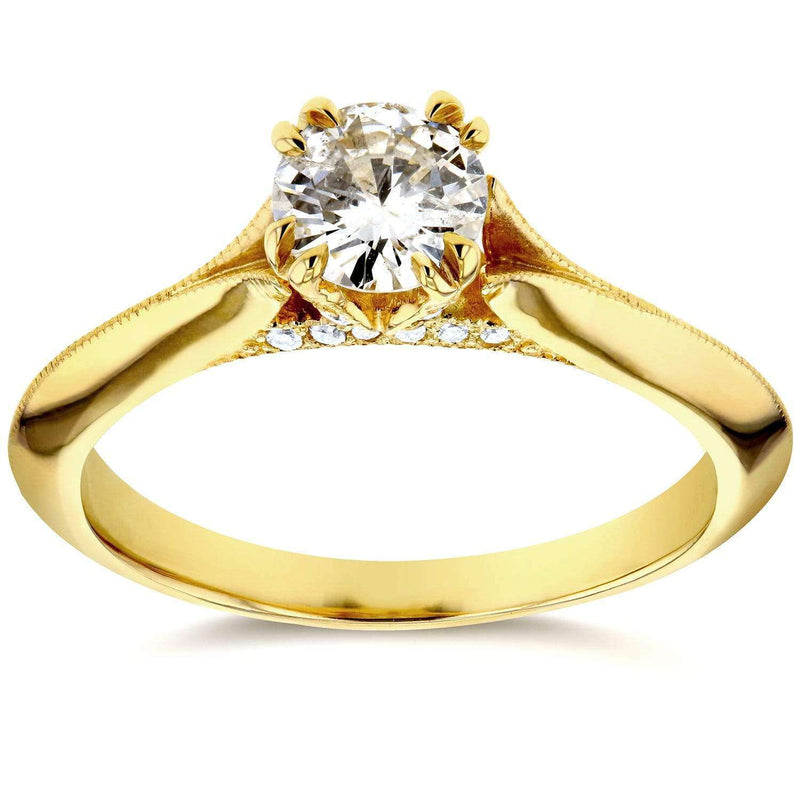 Kobelli Antique Floral Diamond Engagement Ring 1/2 CTW in 14k Yellow Gold