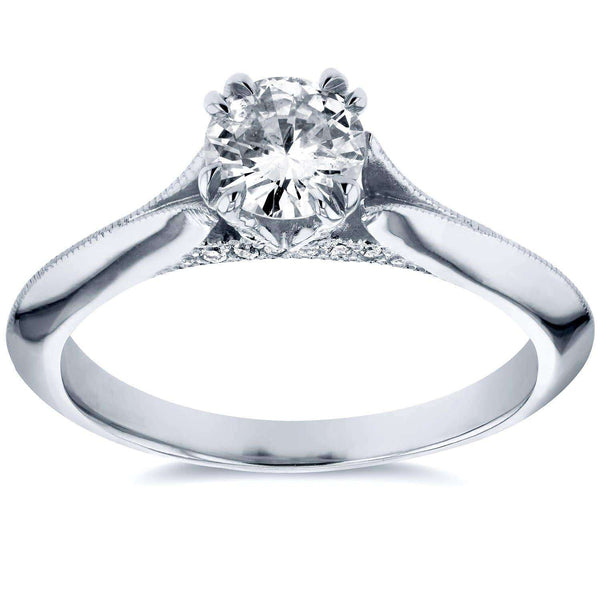 Kobelli Antique Floral Diamond Engagement Ring 1/2 CTW in 14k White Gold