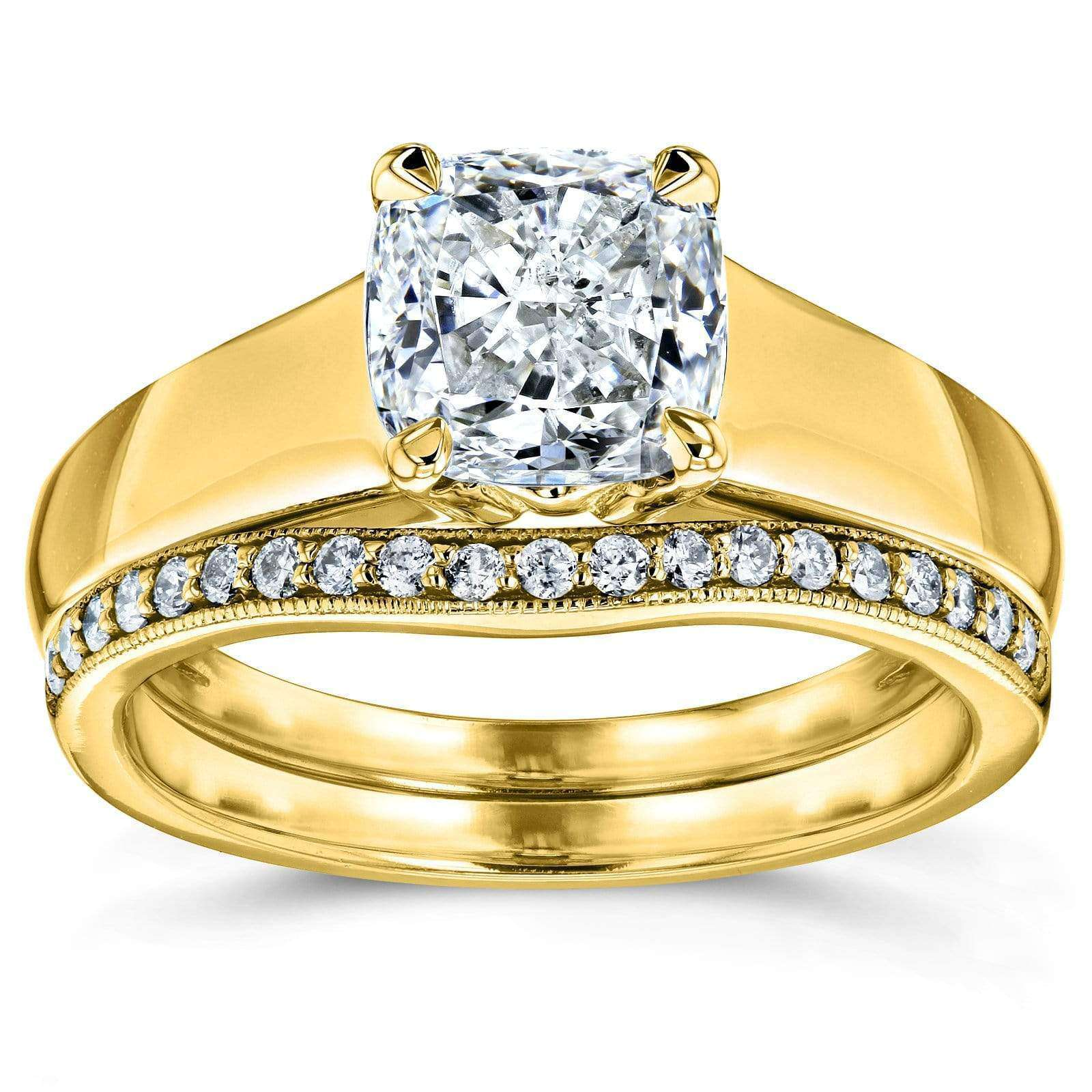 Reviews Cushion Diamond Solitaire and Wedding Band Bridal Set 1 1/6 CTW in 14k Yellow Gold - 8.5