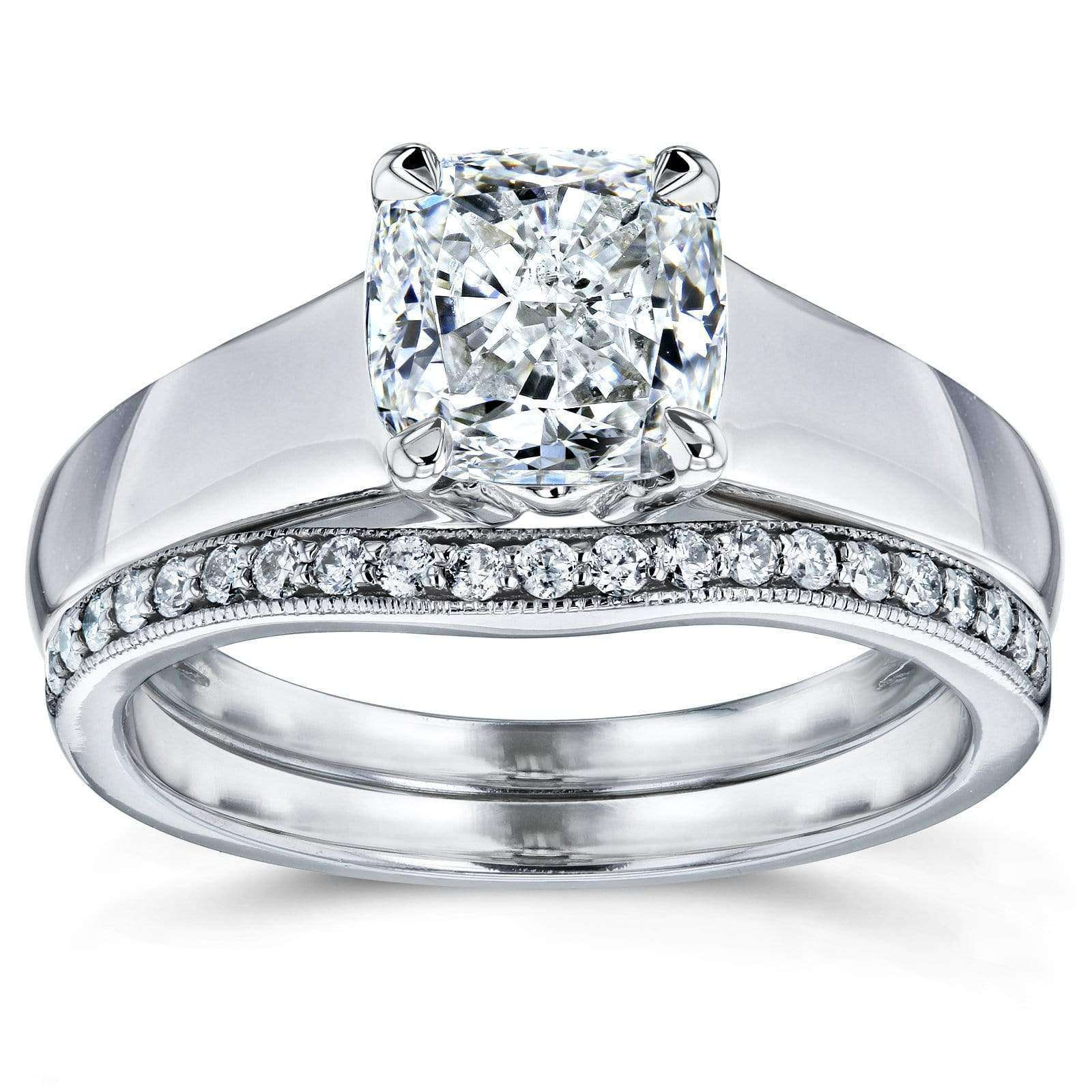 Discounts Cushion Diamond Solitaire and Wedding Band Bridal Set 1 1/6 CTW in 14k White Gold - 7.5