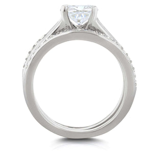 Kobelli Cushion Diamond Solitaire and Wedding Band Bridal Set 1 1/6 CTW in 14k White Gold
