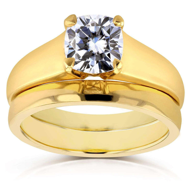 Kobelli Diamond Classic Solitaire Bridal Set 1 Carat in 14k Yellow Gold