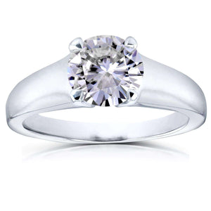 Kobelli Classic Round Diamond Solitaire Ring 1 Carat in 14k White Gold
