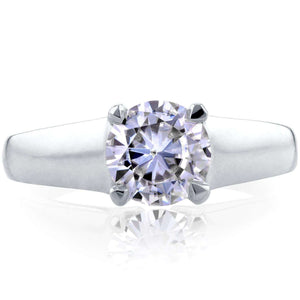 Classic Round Diamond Solitaire Ring 1 Carat in 14k White Gold