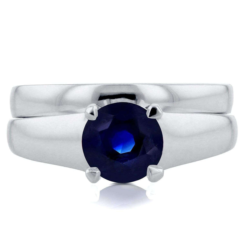 Kobelli Classic Round Blue Sapphire Solitaire Bridal Set 1 Carat in 14k White Gold