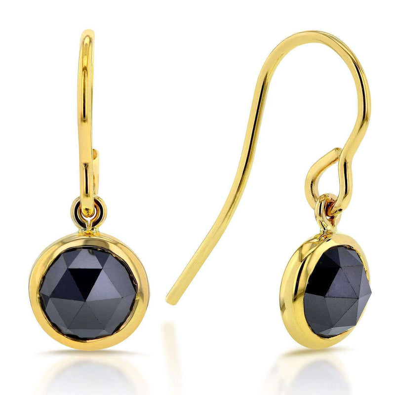 Kobelli Round Black Diamond Earrings 1 3/4 CTW in 14k Yellow Gold 62101RBK-Y
