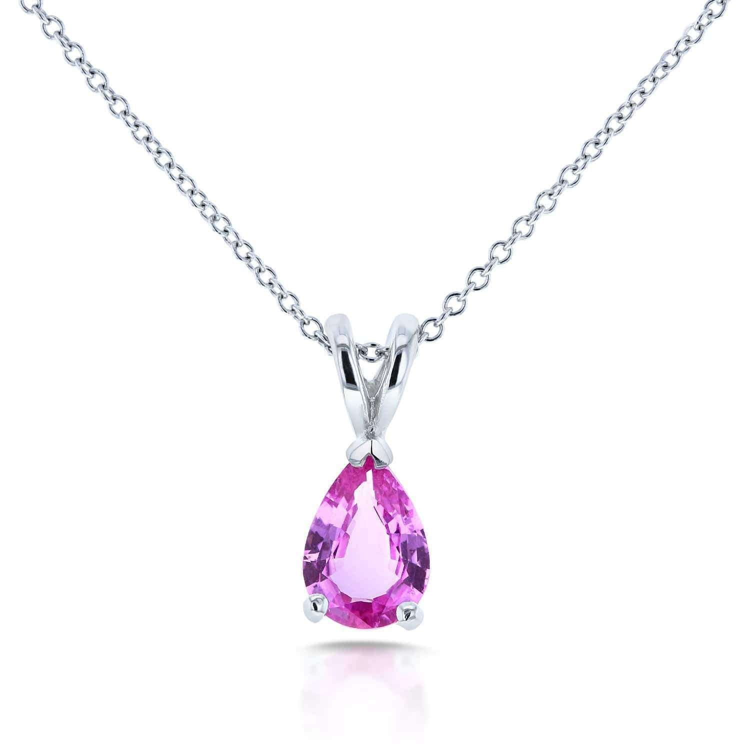 BCA Pear Shaped Pink Sapphire Solitaire Necklace