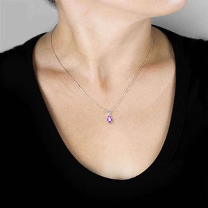 "Kobelli BCA Pear Shaped Pink Sapphire Solitaire Necklace in 14K White Gold (16"" Chain) 62106PK"