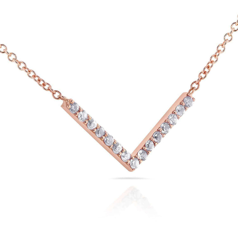 "Kobelli BCA Round Diamond Chevron V Necklace in 14k Rose Gold (16"" Chain) 62107-R"