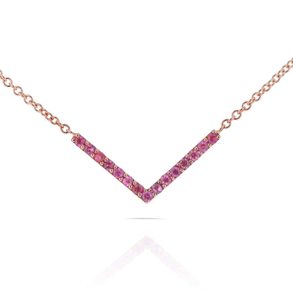 Kobelli BCA Pink Sapphire Chevron Necklace in 14k Rose Gold 62107PK-R