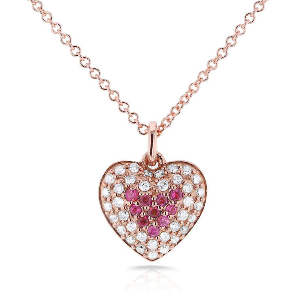 "Kobelli BCA Pink Sapphire & Diamond Heart Necklace 1/4 CTW in 14k Rose Gold (16"" Chain) 62110PK-R"