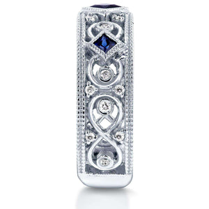 Diamond and Blue Sapphire  Milgrain Band 1/2 CTW in 14k White Gold