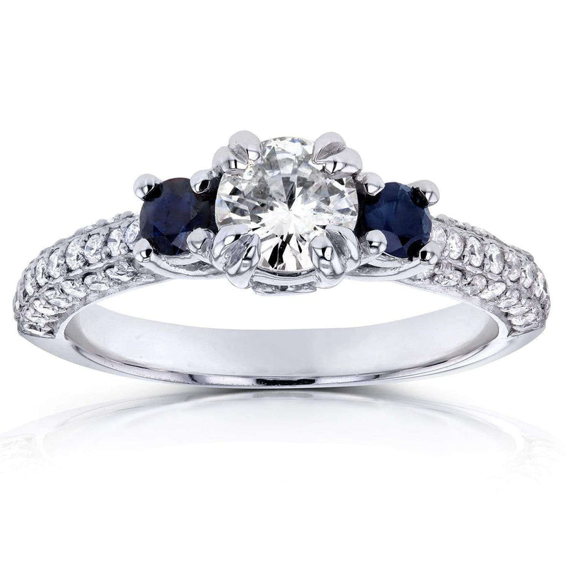 Kobelli Three Stone Blue Sapphire and Diamond Engagement Ring 1 CTW in 14k White Gold