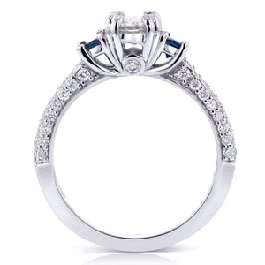 Three Stone Blue Sapphire and Diamond Engagement Ring 1 CTW in 14k White Gold
