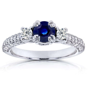14k White Gold Three-Stone Sapphire and Diamond Pave Engagement Ring 1 CTW