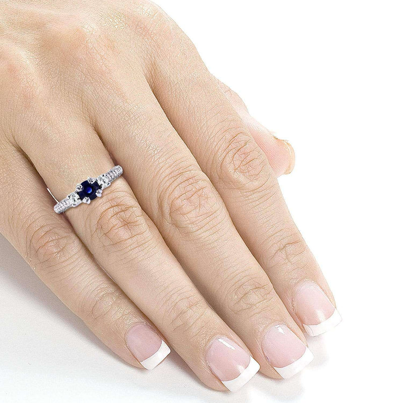 Kobelli 14k White Gold Three-Stone Sapphire and Diamond Pave Engagement Ring 1 CTW