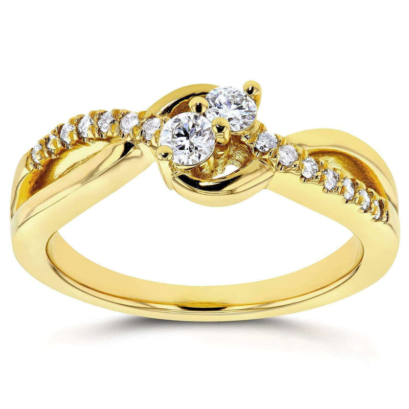 Kobelli Two Stone Diamond Ring 1/4 ctw  in 14k Yellow Gold