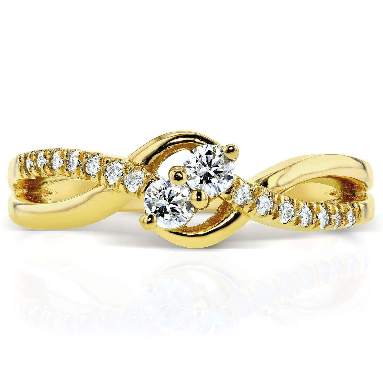 Compare Two Stone Diamond Ring 1/4 ctw  in 14k Yellow Gold - 5.5