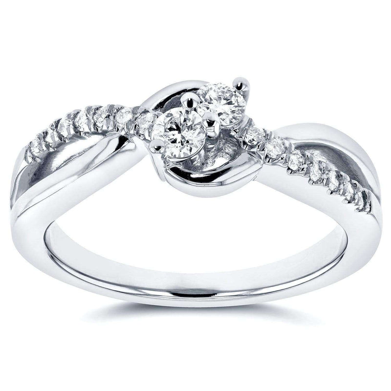 Kobelli Two Stone Diamond Ring 1/4 ctw in 14k White Gold