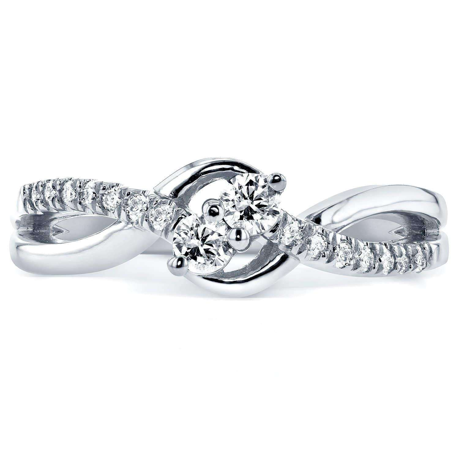 Reviews Two Stone Diamond Ring 1/4 ctw in 14k White Gold - 6