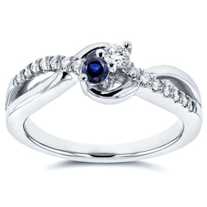 Kobelli Two Stone Diamond & Sapphire Ring 1/4 ctw in 14k White Gold