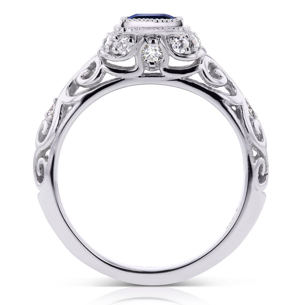 Princess Sapphire and Diamond Antique Ring 3/4 CTW in 14k White Gold