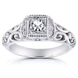 Kobelli Vintage Diamond Ring 3/4 CTW in 14k White Gold