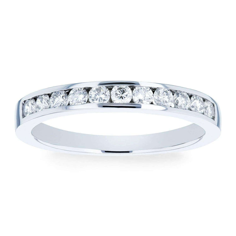 Kobelli Round Diamond Channel Set Wedding Band 1/3 CTW 18k White Gold
